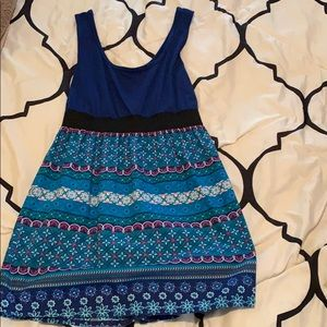 Blue Patterned Mini Dress